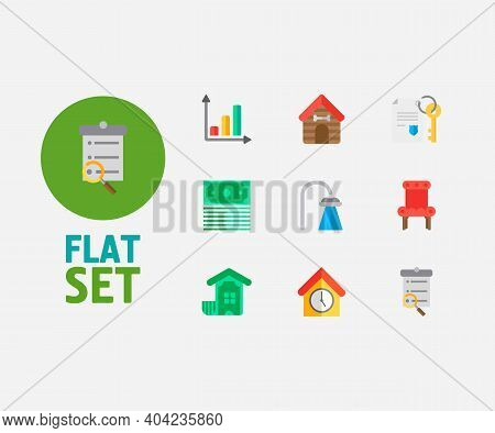 Real Estate Icons Set. Leased And Real Estate Icons With Progress Up, Search Listing And Property Pa