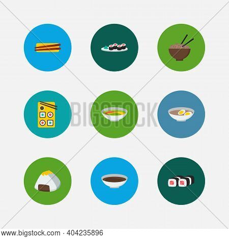 Sushi Icons Set. Onigiri And Sushi Icons With Sushi, Soup And Chopstick. Set Of Vegetable For Web Ap