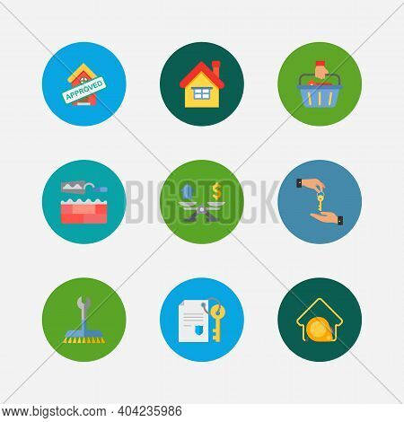 Building Icons Set. Deal And Building Icons With Property Valuation, Home And Buyer. Set Of Coin For