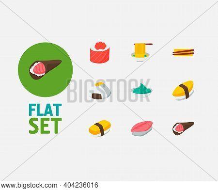 Food Icons Set. Saba Nigiri And Food Icons With Japanese Cuisine, Tamago Nigiri And Wasabi. Set Of C