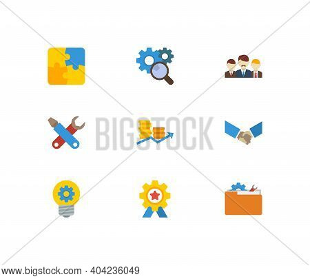 Technology Collaboration Icons Set. Teamwork And Technology Collaboration Icons With Creativity, Res