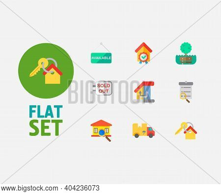 Building Icons Set. Key And Building Icons With Inspection, Move And Change Of Housing. Set Of Magni