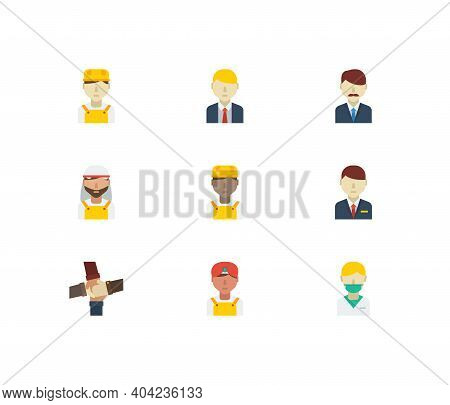 Profession Icons Set. Teamwork And Profession Icons With Arab Worker, African Worker And Hotel Recep