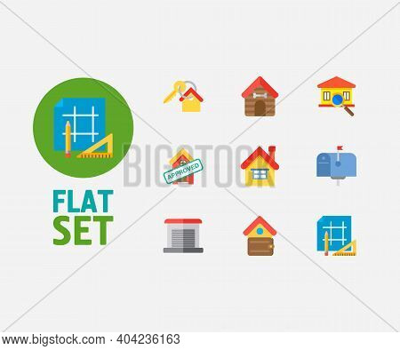 Real Estate Icons Set. Key And Real Estate Icons With Home Loan Approved, Garage And Finances. Set O