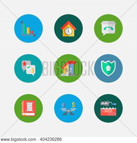 Building Icons Set. Leased And Building Icons With Property Valuation, Progress Down And Home Securi