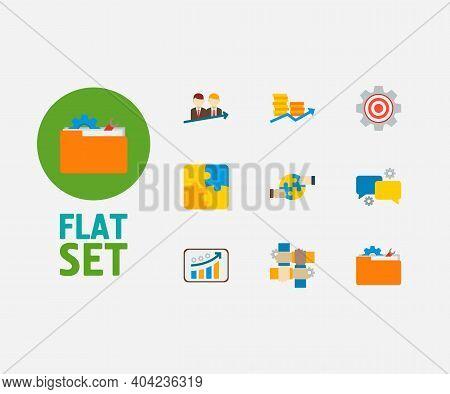 Technology Partnership Icons Set. Cooperation And Technology Partnership Icons With Successful Partn