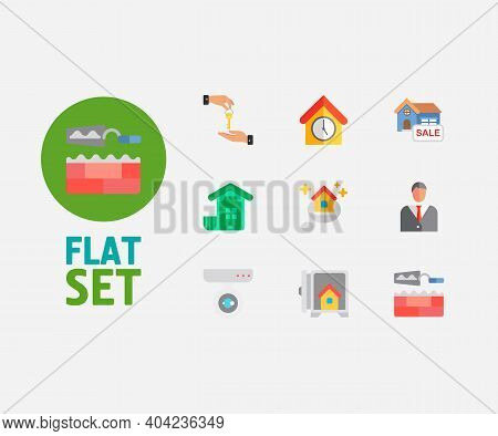Real Estate Icons Set. Deal And Real Estate Icons With House For Sale, Surveillance Service And Home