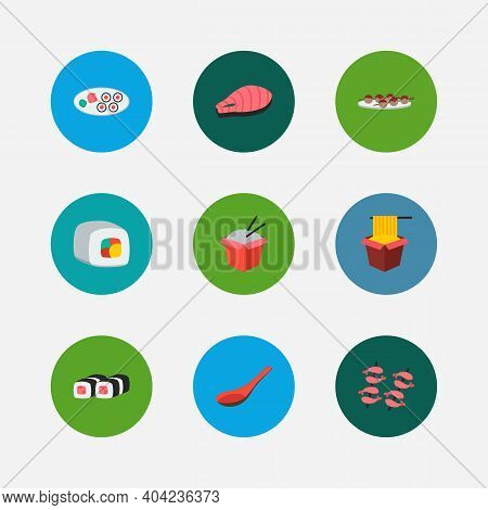 Sushi Icons Set. Futomaki And Sushi Icons With Hawker, Sushi And Salmon. Set Of Portion For Web App