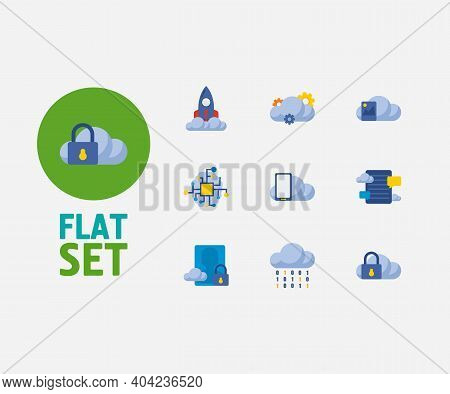 Cloud Service Icons Set. Artificial Intelligence And Cloud Service Icons With Blog Storage, Image St