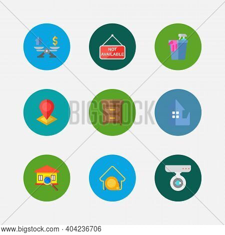 Building Icons Set. Location And Building Icons With House Measurement, Inspection And Property Valu