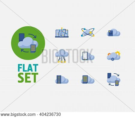 Cloud Service Icons Set. Machine Learning And Cloud Service Icons With Data Storage, Cloud Networkin