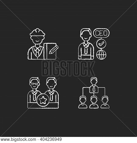 Organization Hierarchy Chalk White Icons Set On Black Background. Supervisor. Ceo. Directors Board.