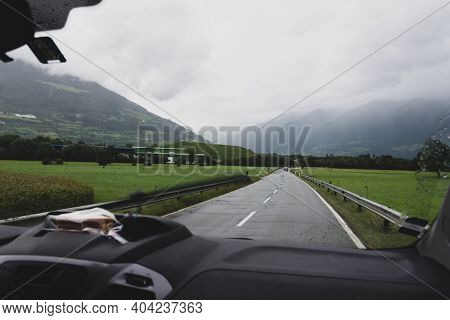 Vanlife - Van Traveling On A Country Road