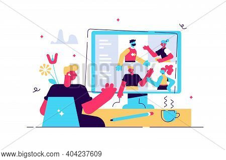 Video Conferencing Vector Illustration. Distance Conversation With Work