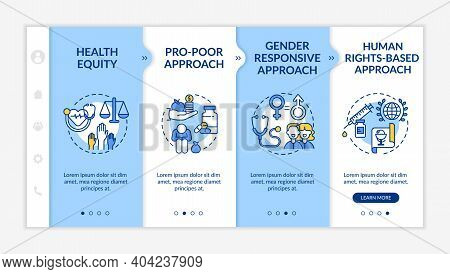 Health Programs Principles Onboarding Vector Template. Health Equity Among Different Kinds Of People