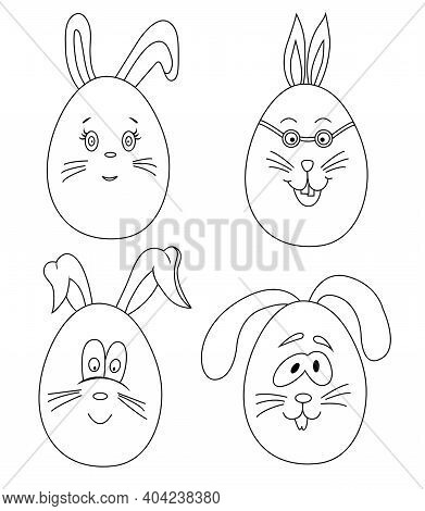 Easter Bunny Eggs Coloring Page. Cute Vector Characters For Easter. Outline Coloring Book For Childr