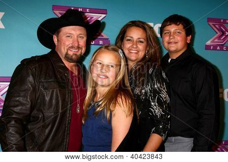 LOS ANGELES - DEC 20:  Tate Stevens - Winner of 2012 X Factor, with his family at the 'X Factor' Season Finale at CBS Television City on December 20, 2012 in Los Angeles, CA