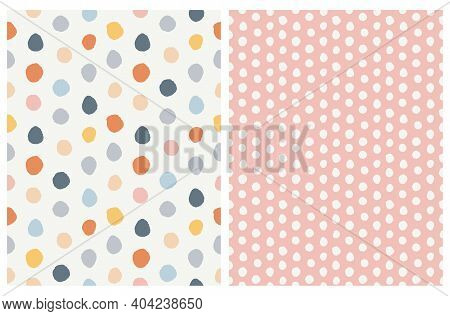 Seamless Vector Pattern With Hand Drawn Irreagular Dots Isolated On An Off- White And Pastel Pink Ba
