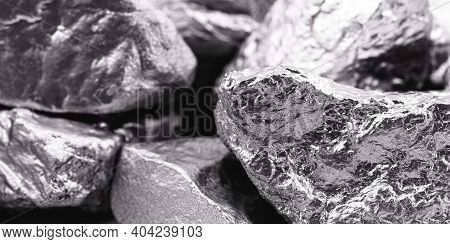 Several Palladium Stones, A Chemical Element That At Room Temperature Contracts In The Solid State.