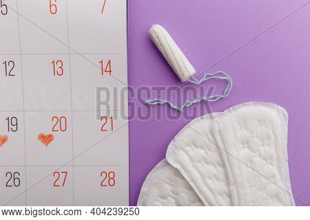 Females Menstrual Cycle Concept. Menstrual Calendar With Sanitary Pads And Tampon