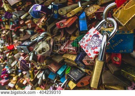 Cologne, Germany - May 20 2019 : Famous Love Padlocks Hanging At Hohenzollern Bridge In Cologne. Cou