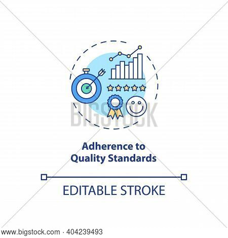 Adherence To Quality Standards Concept Icon. Staff Training Idea Thin Line Illustration. Performing