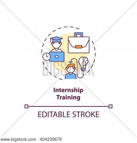 Internship Training Concept Icon. Gaining Supervised Practical Experience Idea Thin Line Illustratio
