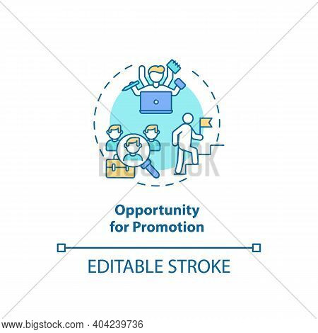 Opportunity For Promotion Concept Icon. Employee Position Advancement Idea Thin Line Illustration. I