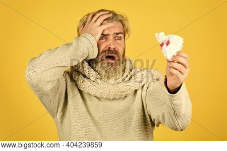 Flu Virus. Coronavirus Outbreak. Home Treatment. Stuffed Nose. Brutal Man Runny Nose. Epidemic Conce