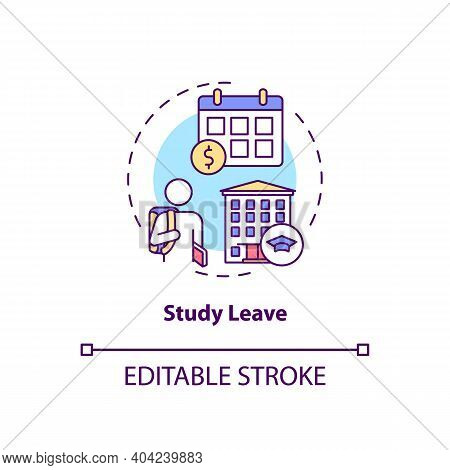Study Leave Concept Icon. Paid Leave Idea Thin Line Illustration. Employee Ability To Pursue Studies
