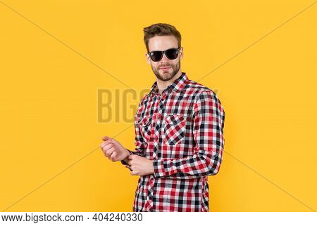 Looking Trendy. Well Groomed Hairstyle. Male Beauty And Fashion Look. Checkered Shirt For Bearded Gu