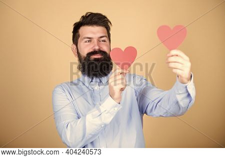 Man Bearded Hipster With Heart. Celebrate Valentines Day. Guy With Beard And Mustache In Love Romant
