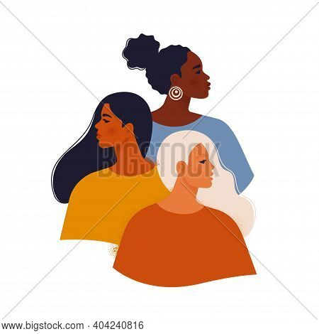 Multi Ethnic Beauty. Female Diverse Faces Of Different Ethnicity African, Asian, Chinese, European,