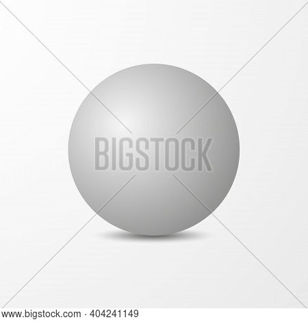 White 3d Sphere Or Ball. Vector Realistic Ball Isolated On A White Background With A Shadow.