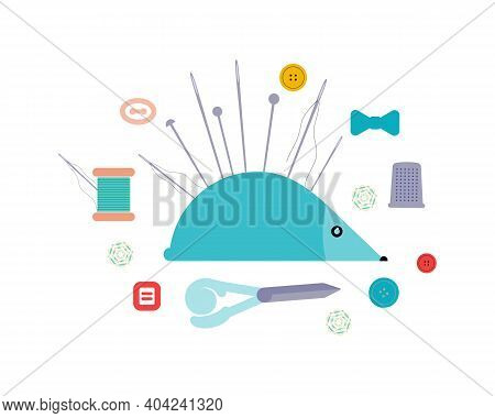 Items For Sewing And Needlework. The Concept Of Sewing Craftsmanship. Flat Vector Illustration Isola
