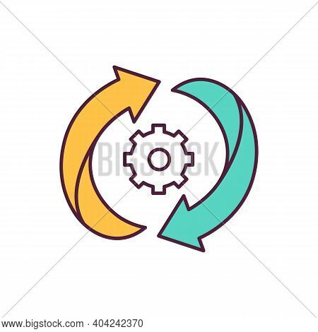 Arrows And Gear Blue Rgb Color Icon. Circulation Of Substances. Constant Movement. Climate Change An