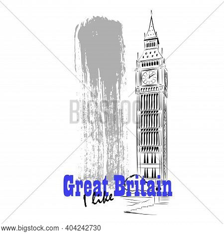 Vector Linear Illustration Of Uk Architecture. Artistic Image Of Big Ben Tower.