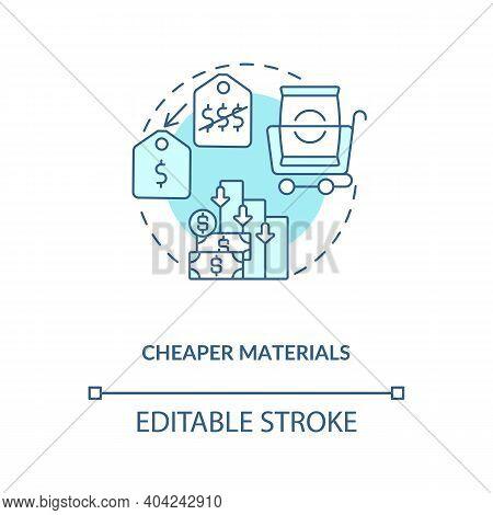 Cheaper Materials Concept Icon. Cost Cutting Measures Idea Thin Line Illustration. Production Optimi