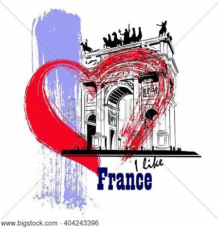 Vector Linear Illustration Of Ancient French Architecture. Artistic Representation Of The Arc De Tri