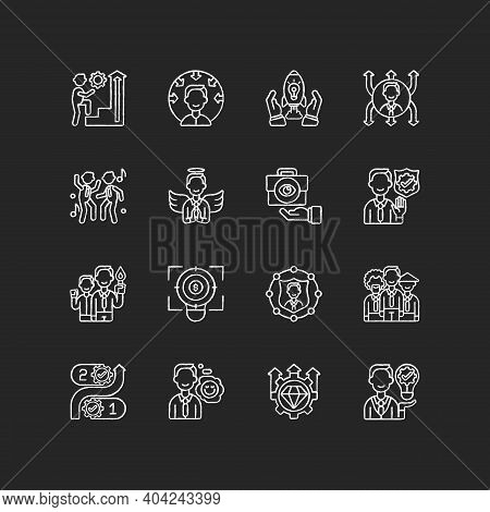 Core Values Chalk White Icons Set On Black Background. Persistence And Determination In Work. Busine