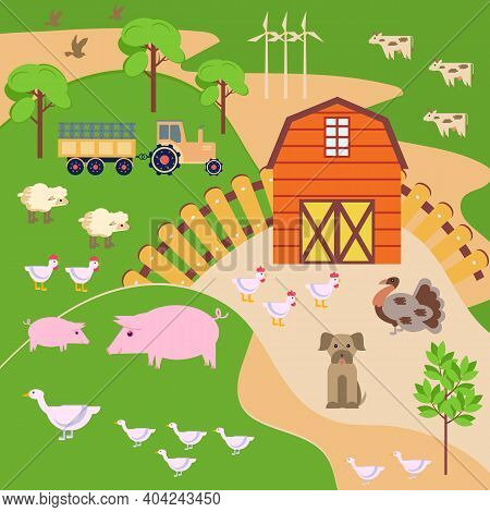 Vector Illustration With A Spring Landscape, A Farm, A Barn, Poultry And Animals On The Background O