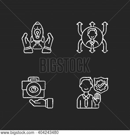 Company Mission Chalk White Icons Set On Black Background. Innovation, Project Development. Flexibil