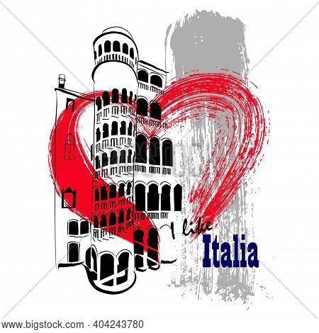 Vector Linear Illustration Of Ancient Italian Architecture. Artistic Image Of A Building In Italy Wi