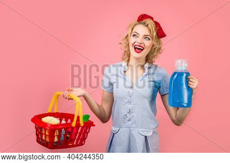 Cleaning. Pin Up Woman With Cleaning Products. Retro Style. Pin Up Woman With Cleaning Tools. Woman