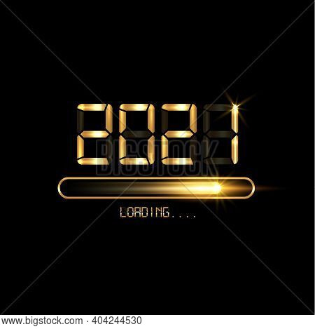 Gold Progress Bar On Black Download 2021 New Year's Eve. Loading Animation Screen Almost Reaching 20
