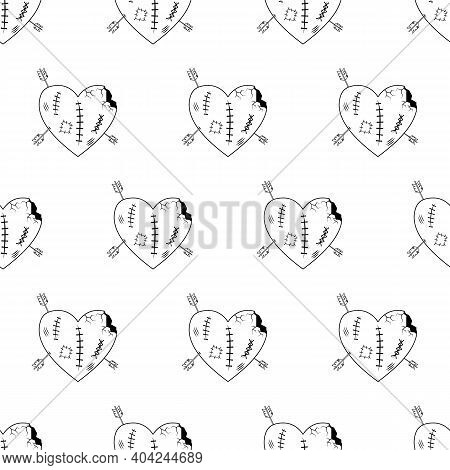Valentines Day Line Seamless Pattern. Lovely Broken And Crippled Heart, Large Wound Wounds And Crack