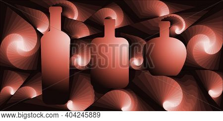 Digital Illustration With Abstract Design Of A Group Of Bottles With Pink Gradient Color