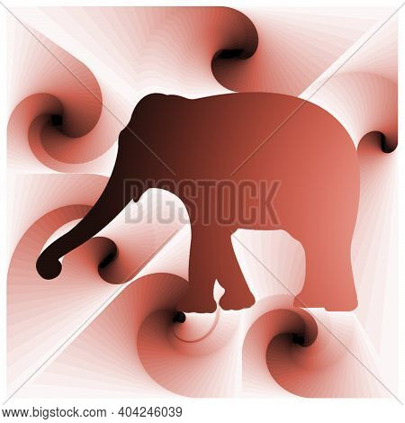 Digital Illustration With Abstract Design Of The Silhouette Of An Elephant With Pink Gradient Color