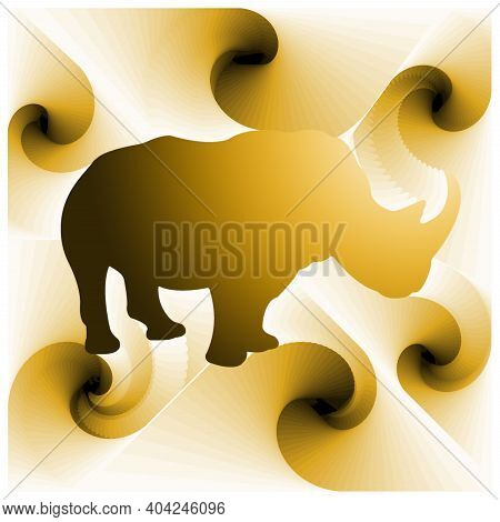 Digital Illustration With Abstract Design Of The Silhouette Of A Rhino With Yellow Gradient Color