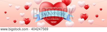 Valentines Day Sale. Horizontal Banner For The Website. Promotion And Shopping Template Or Backgroun